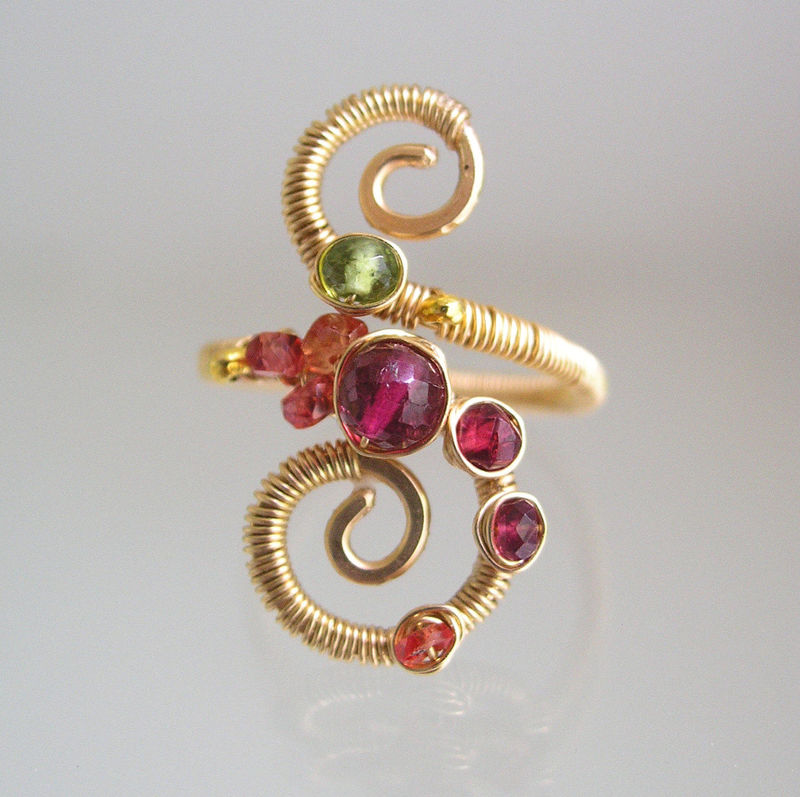 Multi Gemstone 14k Gold Filled Spiral Ring with Pink Tourmaline, Spinel, Vesuvianite, and Sapphire, Size 4 - product images  of