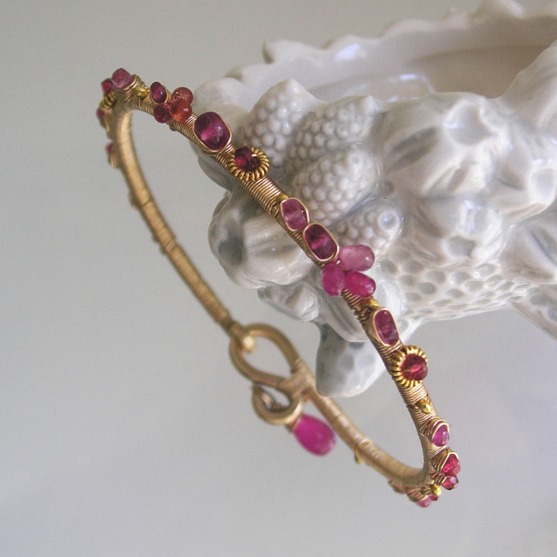 Pink Ruby Bangle, 14k Gold Filled Stackable Sapphire Bracelet with Tourmaline and Ruby - product images  of