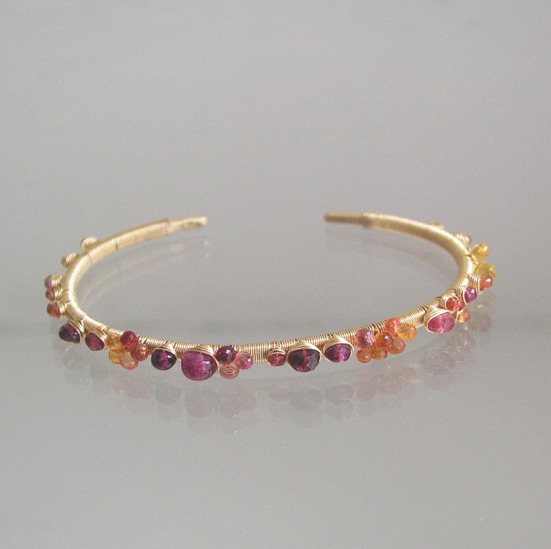 14k Solid Gold Gemstone Cuff, Wire Wrapped Stackable Bracelet with Sapphires, Red Spinel, Pink Tourmaline, Sunset Jewelry, Pinks, Orange - product images  of