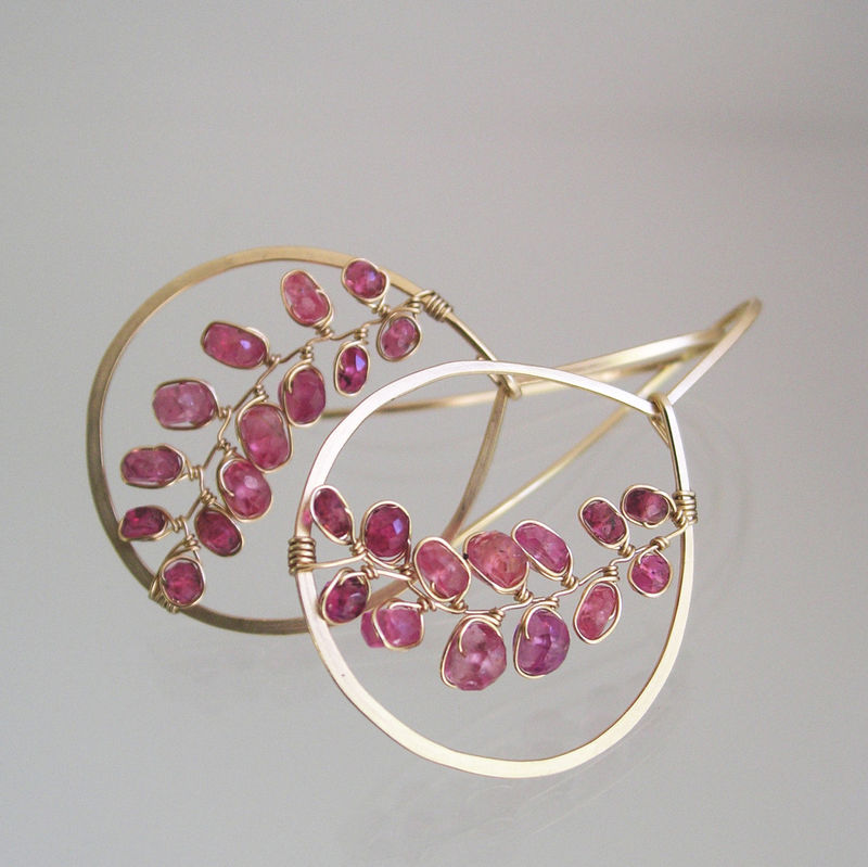 Berry Pink Sapphire 14k Gold Filled Hoops, Gemstone Vines Earrings - product images  of