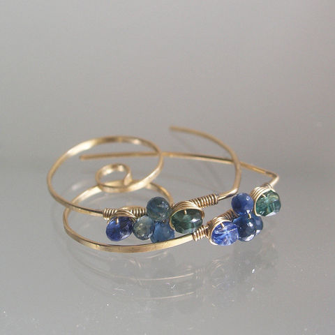 Green,Apatite,14k,Gold,Filled,Spiral,Hoops,with,Kyanite,,Blue,Sapphire,Earrings,Jewelry,Green_Apatite,14k_Gold_filled,Spiral_Hoops,Kyanite_Earrings,Blue_Sapphire_Spiral,Lightweight,Green_Blue_Hoops,Bella_Jewels,BellaJewels,Green_Spirals,Blue_Spirals,Small_Earrings,Summer_Earrings,14k Gold Filled wire,apatite,kyanite,sapphire