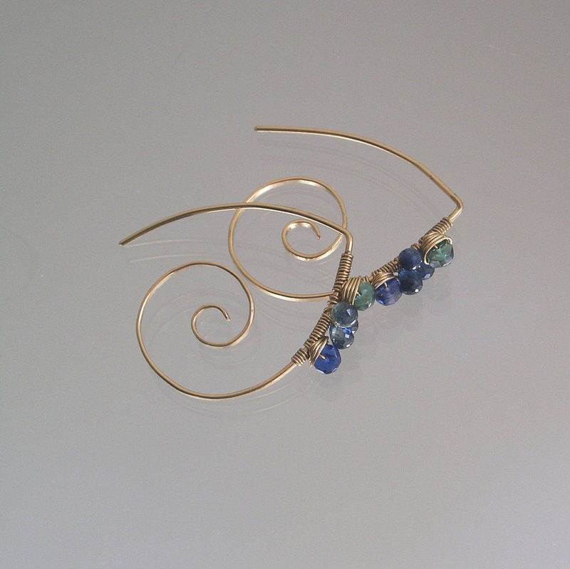Green Apatite 14k Gold Filled Spiral Hoops with Kyanite, Blue Sapphire Earrings - product images  of