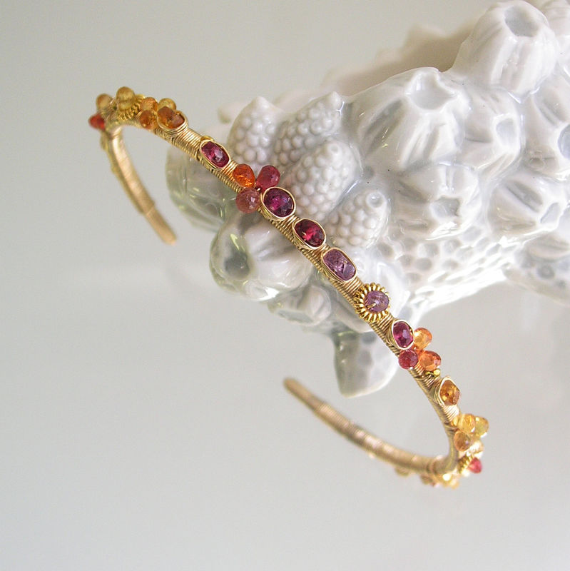 Colorful Wire Wrapped Sapphire Cuff, 14k Gold Filled Bracelet with Orange Sapphire, Red Spinel, and Pink Tourmaline - product images  of