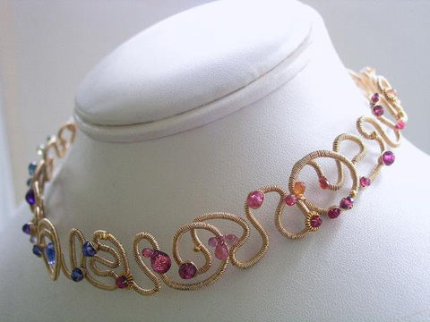 Rainbow,Gemstone,14k,Gold,Filled,Wide,Scribble,Choker,Necklace,with,Ruby,,Tourmaline,,Tanzanite,,Garnet,,Sapphire,,Apatite,Jewelry,gemstone_choker,wrapped_necklace,scribble_collar,gold_filled_necklace,scribble_necklace,statement_choker,bellajewels,bella_jewels,tanzanite_necklace,tourmaline_necklace,Rainbow_Gemstone,14k_Gold_Fill_Wide,Ruby_Choker,14k gold,14k gold fil
