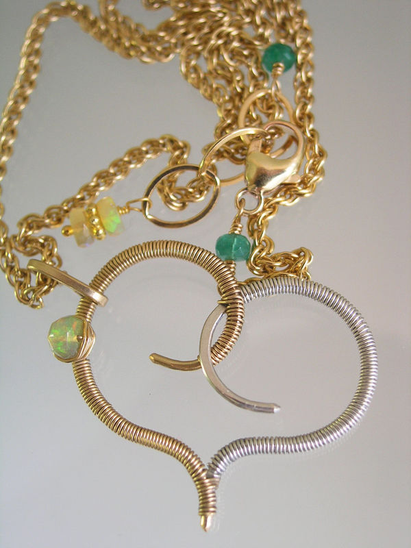 Stylized Mixed Metal Heart Pendant Necklace with Opal, 14k Gold Fill and Sterling Silver - product images  of