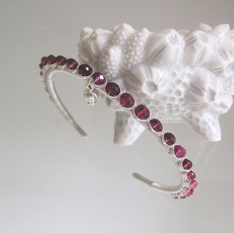 Garnet Gemstone Wire Wrapped Sterling Silver Cuff, Bracelet with Garnet, Sapphire, Spinel, and a Pomegranate Charm - product images  of