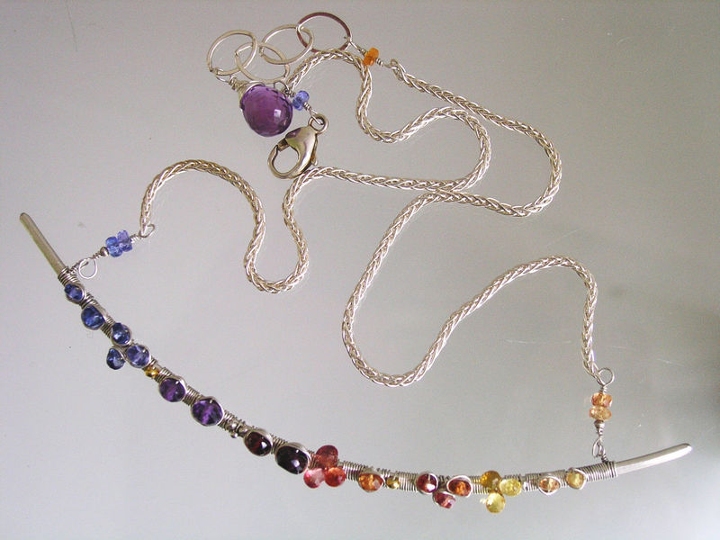 Gemstone Sterling Silver Curved Bar Necklace, Argentium, Wire Wrapped Choker with Tanzanite, Amethyst, Sapphires, Garnet, Made to Order - product images  of