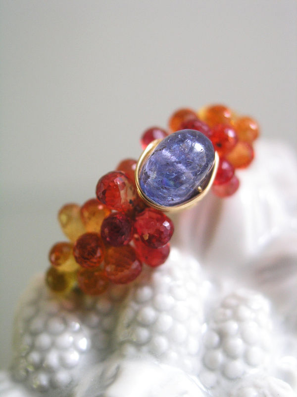 Tanzanite Sapphire 14k Gold Filled Wire Wrapped Cocktail Ring in Periwinkle and Tangerine,  Size 8 - product images  of