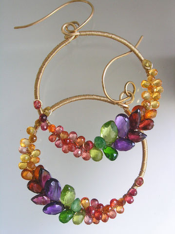 Rainbow,Gemstone,14k,Gold,Filled,Hoops,,Prismatic,Wire,Wrapped,Front,Facing,Earrings,with,Amethyst,,Sapphire,,Tsavorite,Jewelry,gemstone_hoops,rainbow_hoops,amethyst_earrings,sapphire_hoops,tsavorite_hoops,signature_hoops,bellajewels,bella_jewels,gold_filled_hoops,Rainbow_Gemstone,14k_Gold_Filled,Prismatic_Wire,Wrapped_Earrings,14k gold filled wire,gemstones,tsavo