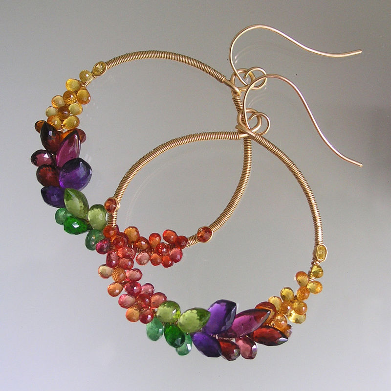 Rainbow Gemstone 14k Gold Filled Hoops, Prismatic Wire Wrapped Front Facing Earrings with Amethyst, Sapphire, Tsavorite, Made to Order - product images  of