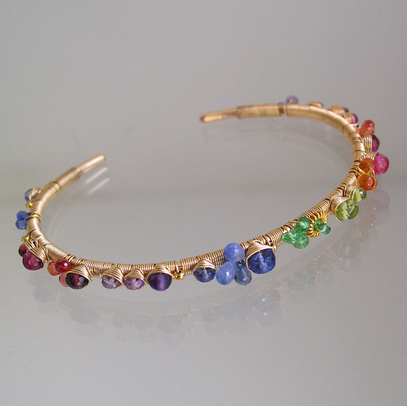 Colorful Multi Gemstone 14k Gold Filled Cuff Bracelet Wire Wrapped with Sapphire, Tsavorite, Tanzanite, Made to Order - product images  of