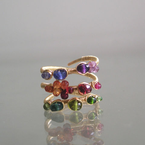 Multi,Gemstone,14k,Solid,Gold,Wraparound,Ring,with,Green,Emerald,,Red,Spinel,,Sapphire,,Tanzanite,,Size,7,Jewelry,Multi_Gemstone,14k_Sold_Gold_Wrap,Wrap_Ring,Wire_Wrapped,Green_Emerald,Red_Spinel_Ring,Sapphire_Ring,Tanzanite_Ring,Original_Design,Signature_Ring,Size_7,Bellajewels,Rainbow_Gold_Ring,14k gold wire,gemstones,tsavorite,vesuvianite,chrome diops