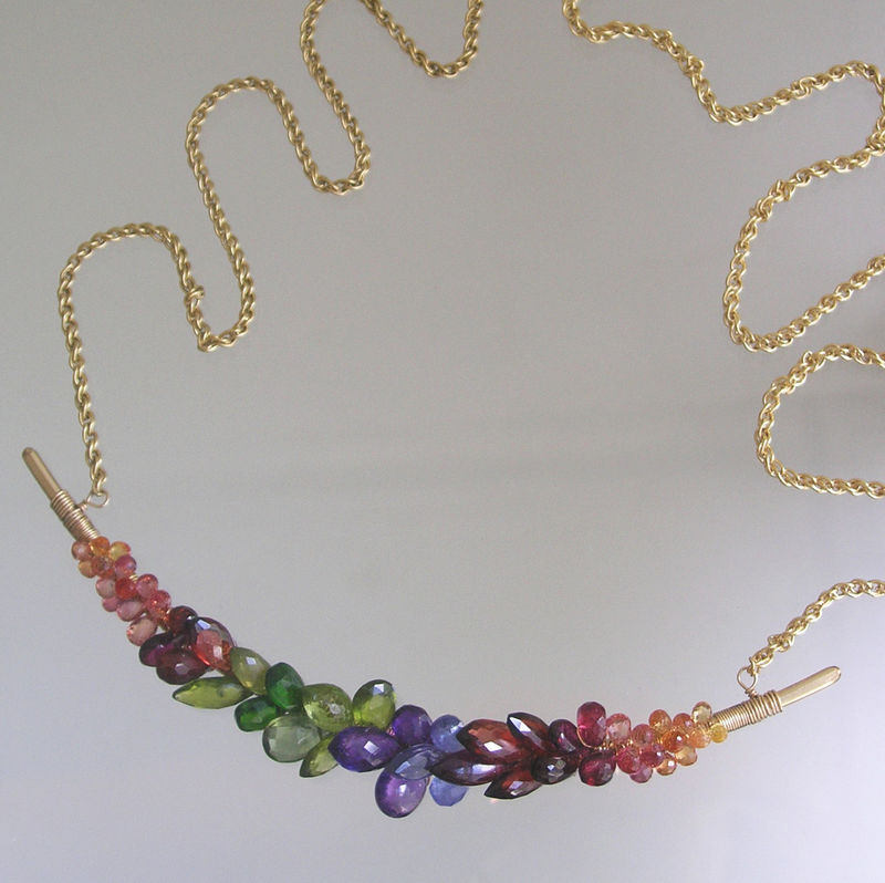 Rainbow Gemstone 14k Gold Filled Curved Bar Necklace, Multi Gemstone Choker with Sapphires, Garnet, Tanzanite, Peridot, Diopside, Made to Order  - product images  of