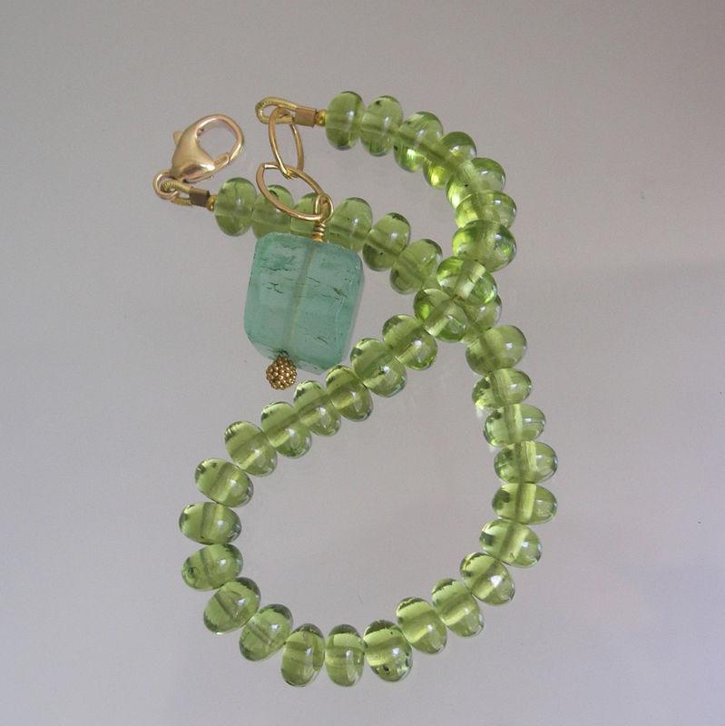 Green Peridot Beaded Layering Bracelet with Sea Green Fluorite