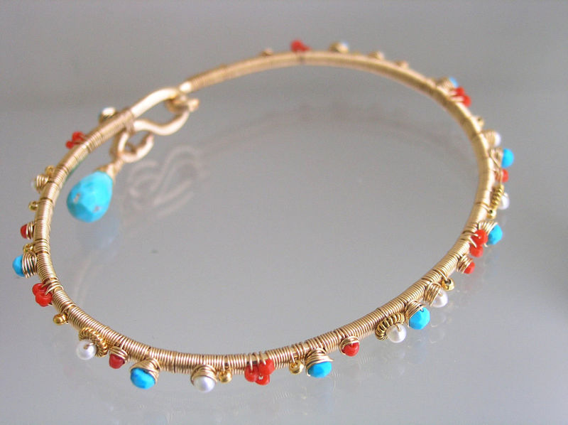 Turquoise 14k Gold Filled Bangle with Vintage Coral and Pearls, Wire Wrapped Stackable Bracelet - product images  of