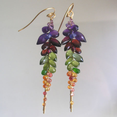 Rainbow,Gemstone,Encrusted,14k,Gold,Filled,Linear,Stem,Earrings,with,Tourmaline,,Garnet,,Peridot,,Sapphire,Jewelry,Rainbow_Gemstone,Stem_Earrings,Gem_Encrusted,Gold_Filled,Linear_Earrings,Original_Design,Signature,Colorful_Statement,Statement_Jewelry,BellaJewels,Rainbow_Earrings,Gem_Gold_Earrings,Artist_Made_Earrings,14k gold filled wire,gemstones,sap