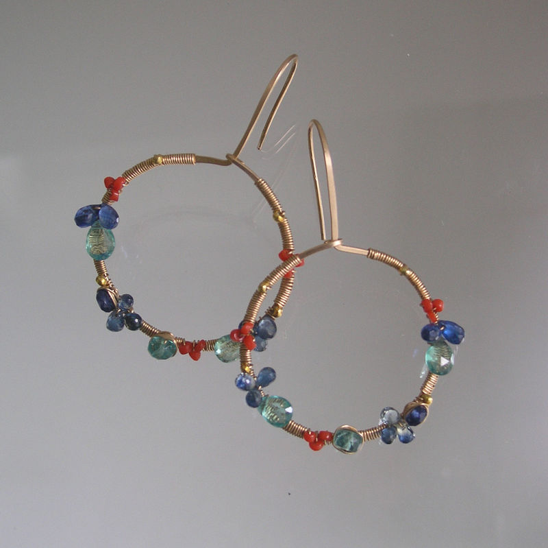 Blue and Orange Gemstone Gold Filled Hoops, Wire Wrapped Earrings with Vintage Coral, Kyanite, Sapphire, Apatite - product images  of