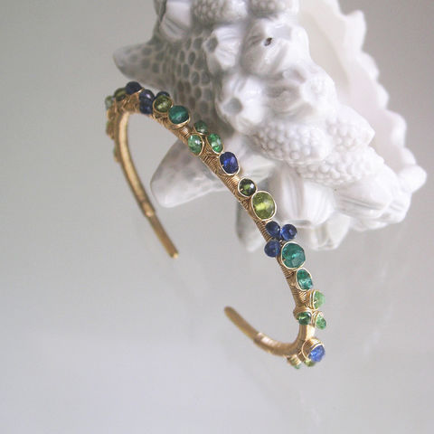 Multi,Gemstone,Gold,Filled,Cuff,,Wire,Wrapped,Hand,Wrought,Bracelet,with,Emerald,,Tsavorite,,Sapphire,,Original,Design,,Small,Sized,Jewelry,Blue_and_Green,Gemstone_Gold,Filled_Cuff,Wire_Wrapped,Kyanite_Bracelet,Artisan_Jewelry,Emerald_Cuff,Tsavorite_Cuff,Sapphire_Cuff,Original_Design,Small_Sized,Bellajewels,14k gold filled wire,gemstones,kyanite,blue sapphire,tsavorite,emeral