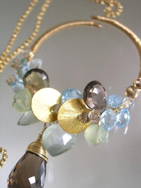 Ethereal Gemstone Large Circle Pendant, Earthy 14k Gold Filled Necklace with Prehnite, Smoky Quartz, Blue Topaz - product images  of