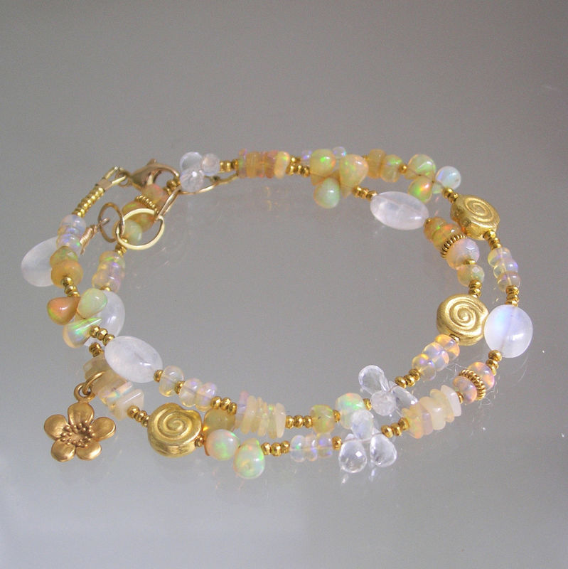 Opal and Moonstone Vermeil Necklace, Skinny Jewels Bracelet, Original Design - product images  of
