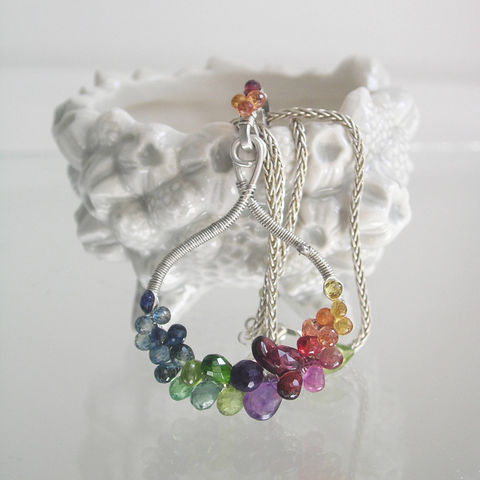 Rainbow,Gemstone,Sterling,Silver,Pendant,,Gem,Encrusted,Sculptural,Necklace,with,Sapphire,,Garnet,,Amethyst,,Tsavorite,,Peridot,Jewelry,Rainbow_Gemstone,Silver_Pendant,Gem_Encrusted,Sculptural_Necklace,Sapphire_Pendant,Artist_Made,Original_Design,Signature,BellaJewels,Rainbow_Necklace,Wire_Wrap_Necklace,Sculptural_Design,Bella_Jewels,argentium sterling silver wire,sterlin