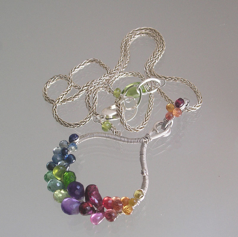 Rainbow Gemstone Sterling Silver Pendant, Gem Encrusted Sculptural Necklace with Sapphire, Garnet, Amethyst, Tsavorite, Peridot - product images  of