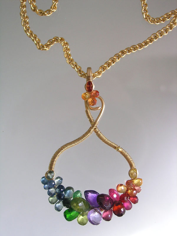 Rainbow Gemstone Small Sculptural Gold Filled Pendant, Hand Wrought Multi Gem Necklace - product images  of