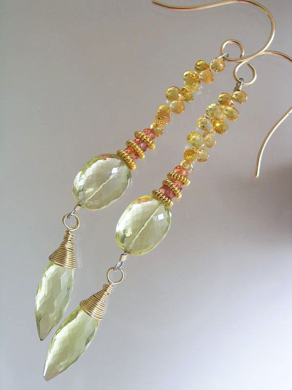 Cosmopolitan Yellow Sapphire Linear Earrings with Lemon Quartz Dangles on Gold Filled Wire  - product images  of