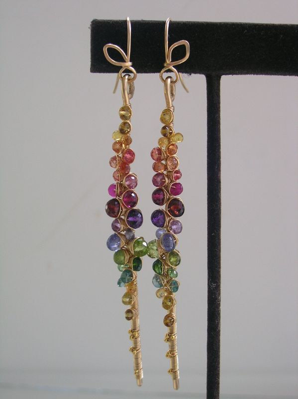 Rainbow Gemstone Encrusted 14k Gold Filled Earrings, Linear Earrings with Amethyst, Tanzanite, Tourmaline, Sapphire, Spinel, Peridot, Made to Order - product images  of