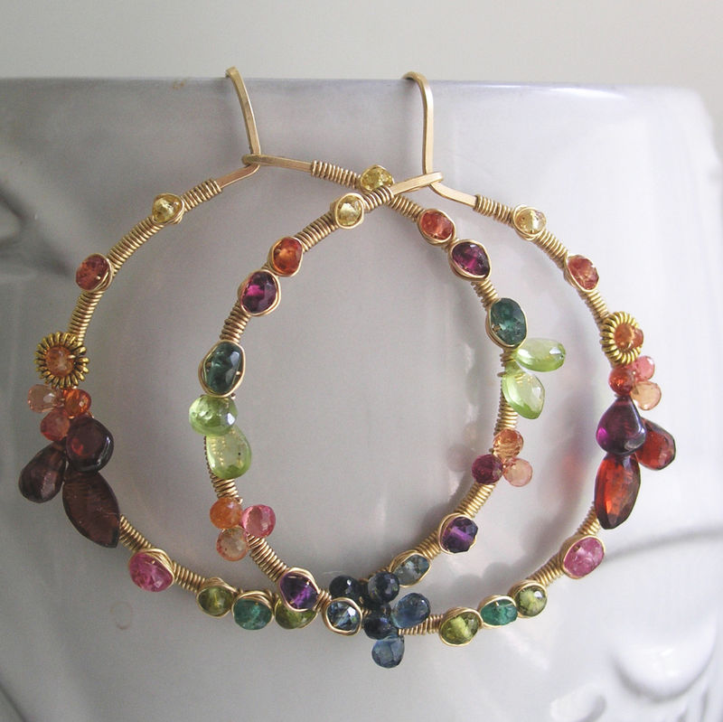 Rainbow Gemstone Hoops, Gold Filled Earrings, Front Facing, Wire Wrapped Jewelry, Artisan Made, Sapphire, Original Design, Made to Order - product images  of