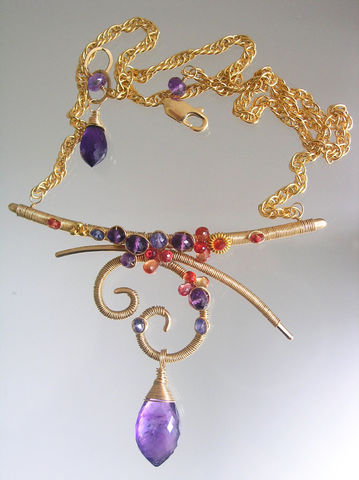 Amethyst,Artisan,14k,Gold,Filled,Sculptural,Necklace,,Curved,Bar,Wire,Wrapped,Choker,with,Tanzanite,,Sapphires,Jewelry,Necklace,Sapphire_Necklace,Original_Design,Amethyst_Necklace,Artisan_Necklace,Gold_Filled_Necklace,Tanzanite_Necklace,Bar_Necklace,Sculptural_Choker,Hammered_Choker,Wire_Wrapped,Wrapped_Necklace,Bellajewels,Curved_Bar_Necklace,14k gold filled lobs