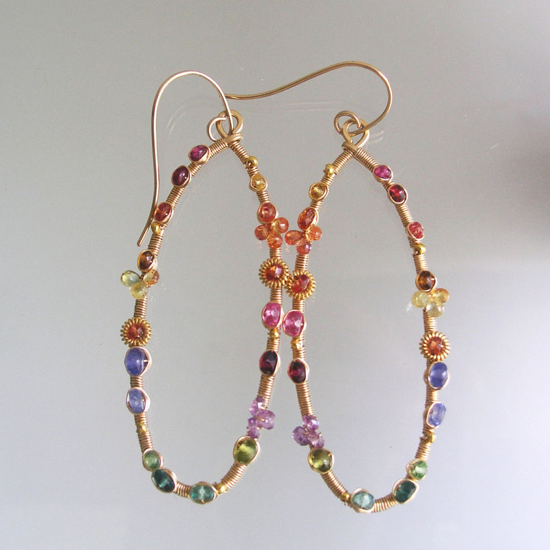 Multi Gemstone 14k Gold Filled Oval Hoops, Elongated Wire Wrapped Earrings with Sapphires, Vesuvianite, Ruby, Tanzanite, Apatite - product images  of