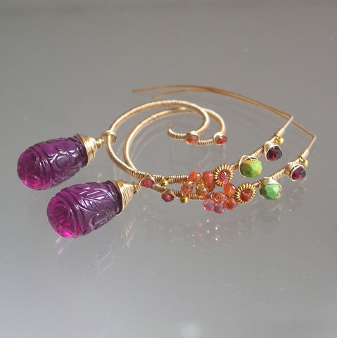 Colorful,14k,Gold,Filled,Gemstone,Earrings,,Spiral,Dangles,with,Carved,Fuchsia,Quartz,,Green,Turquoise,,Orange,Sapphire,Jewelry,Earrings,Green_Turquoise,Orange_Sapphire,Wire_Wrapped,Gemstone_Spirals,Original_Design,Colorful_Gold_Filled,Gold_Filled_Earrings,Carved_Fuchsia,Quartz_Dangles,Bellajewels,Exotic_Earrings,Spiral_Earrings,Gold_Gem_Earrings,14k gold filled wire,gemst