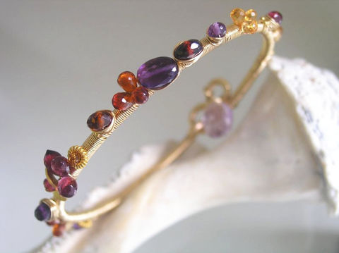Sultry,Gemstone,14k,Gold,Filled,Bangle,,Stackable,Wire,Wrapped,Bracelet,with,Amethyst,,Garnet,,Spessartite,,Sapphire,Jewelry,gemstone_bangle,gold_stacking_bangle,sapphire,spessarite,original_design,signature,bellajewels,gemstone_bracelet,gold_filled_bracelet,exotic_gemstone,stacking_bangle,wire_wrapped_bangle,purple_red_bracelet,14k gold fill,wire,gemstones,ame