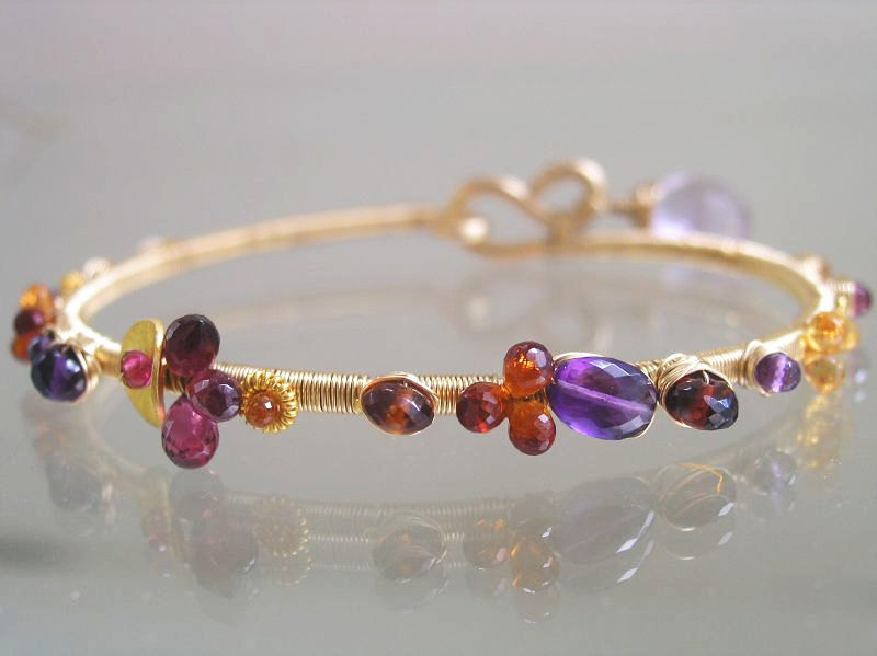 Sultry Gemstone 14k Gold Filled Bangle, Stackable Wire Wrapped ...