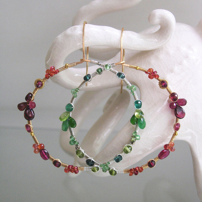 Mixed Metal Multi Gemstone Hoops, Wire Wrapped Statement Earrings with Emerald, Orange Sapphire, Rubelite Tourmaline, Tsavorite - product images  of