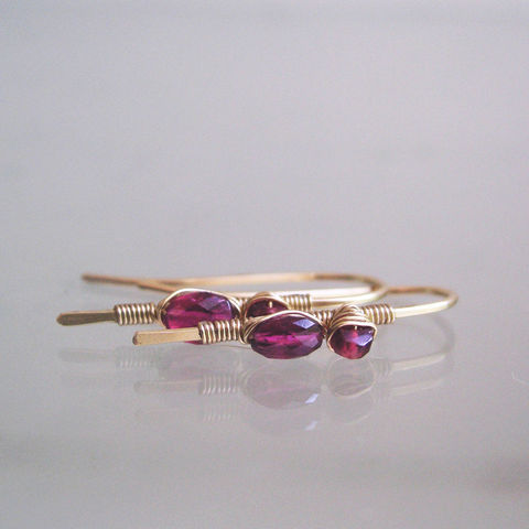 Small,Linear,Rubelite,Tourmaline,14k,Gold,Filled,Earrings,Jewelry,Rubelite_Tourmaline,Tourmaline_Earrings,Red_Sapphire,Sapphire_Dangles,Gold_Filled_Gemstone,Gemstone_Threaders,Tiny_and_Lightweight,Wrapped_Stems,Artist_Made,Original_Earrings,Bellajewels,Bella_Jewels,raspberry_dangles,14k gold filled wire