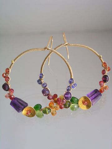 Multi,Gemstone,14k,Gold,Filled,Wire,Wrapped,Hoops,,Colorful,Gem,Earrings,with,Amethyst,,Sapphire,,Peridot,,Garnet,,Tanzanite,Jewelry,Original_Design,Signature_Hoops,Rainbow_Hoops,Gemstone_Hoops,Colorful_Earrings,Wire_Wrapped_Hoop,Hoop_Dangles,Amethyst_Hoops,Sapphire_Hoops,Peridot_Hoops,bellajewels,wire_wrapped_hoops,Multi_Gemstone_Hoops,14k gold filled wire,gemstones,t