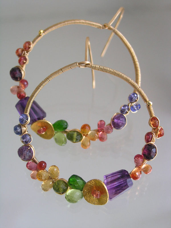 Multi Gemstone 14k Gold Filled Wire Wrapped Hoops, Colorful Gem Earrings with Amethyst, Sapphire, Peridot, Garnet, Tanzanite - product images  of