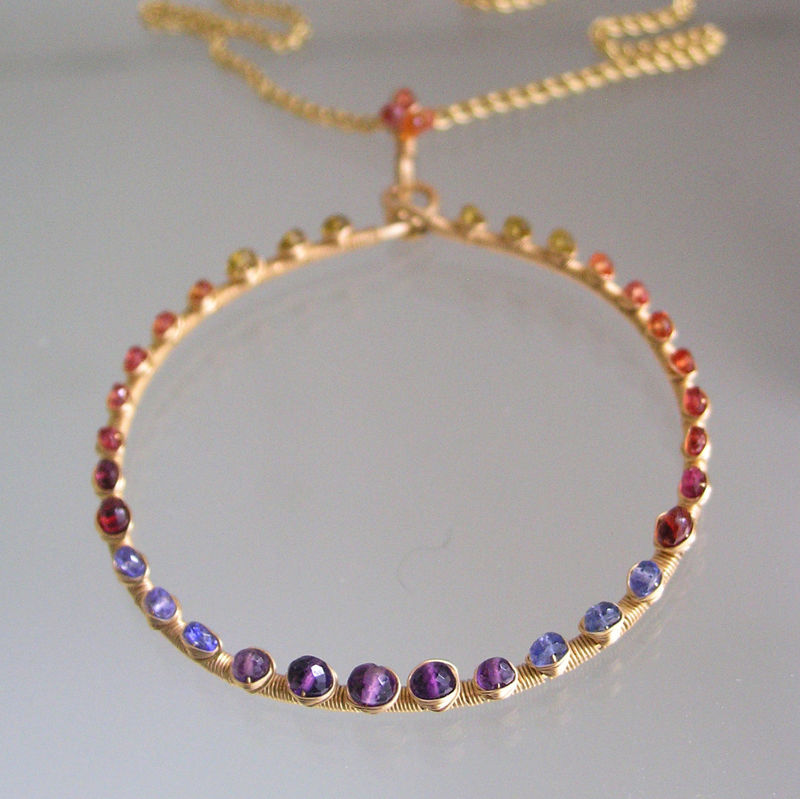 Rainbow Gemstone Large Circle Pendant, Gemstone Studded Ring Necklace with Sapphire, Tourmaline, Tanzanite, Amethyst, Ruby - product images  of