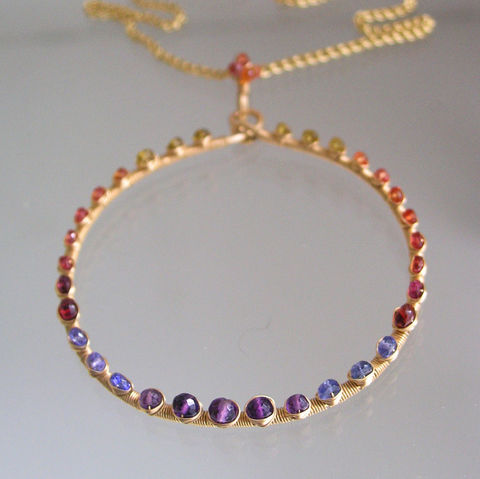 Rainbow,Gemstone,Large,Circle,Pendant,,Studded,Ring,Necklace,with,Sapphire,,Tourmaline,,Tanzanite,,Amethyst,,Ruby,Jewelry,bellajewels,Gemstone_Pendant,Circle_Pendant,Sapphire_Necklace,Ring_Necklace,Tourmaline_Pendant,Rainbow_Circle,Statement_Pendant,Gold_Filled_Pendant,Original_Design,Signature_Pendant,Wire_Wrapped_Pendant,hand_wrought_pendant,14k gold fille