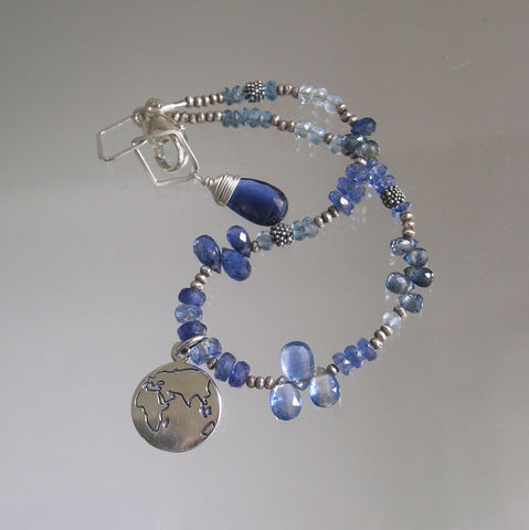Globetrotter,Blue,Gemstone,Beaded,Bracelet,with,Sterling,Silver,World,Charm,,Kyanite,,Sapphire,,London,Topaz,,Aquamarine,Jewelry,Blue_Gemstone,Beaded_Bracelet,Sterling_Silver,World_Charm,Kyanite_Layering,Sapphire_Bracelet,London_Blue,Topaz_Bracelet,Aquamarine_Bracelet,Gemstone_Bracelet,Bellajewels,Bella_Jewels,kyanite,london blue topaz,aquamarine,blue