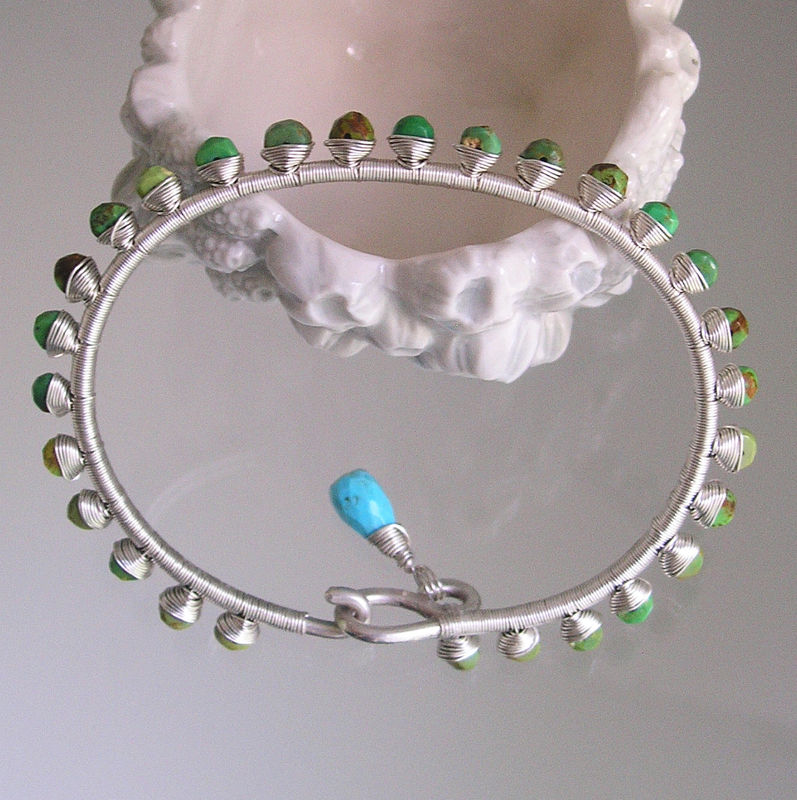 Green Turquoise Wire Wrapped Sterling Silver Bracelet, Hand Wrought Gemstone Studded Bangle  - product images  of
