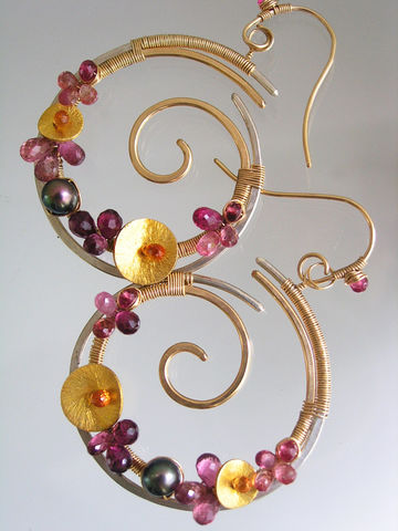 Sculptural,Mixed,Metal,Pink,Tourmaline,Spiral,Hoops,with,Sapphire,,Pearls,Jewelry,Earrings,Signature_Original,Mixed_Metal_Hoops,Gemstone_Nautilus,Nautilus_Earrings,Spirals,Pink_Tourmaline,Sapphire_Hoops,Pearl_Hoops,Wave_Scrolls,Artisan_Earrings,Bellajewels,pink_grey_gold_hoops,tourmaline_hoops,14k gold filled wire,argentium sil