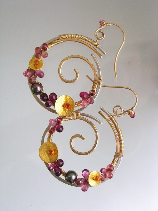 Sculptural Mixed Metal Pink Tourmaline Spiral Hoops with Sapphire, Pearls  - product images  of