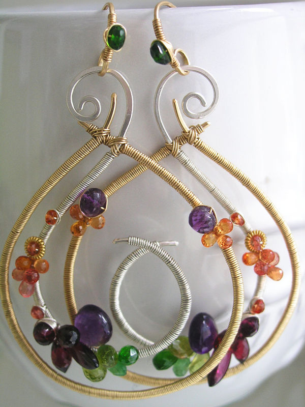 Mixed Metal Gemstone Teardrop Hoops, Sculptural Statement Earrings with Amethyst, Sapphire, Tsavorite, Garnet, Diopside - product images  of