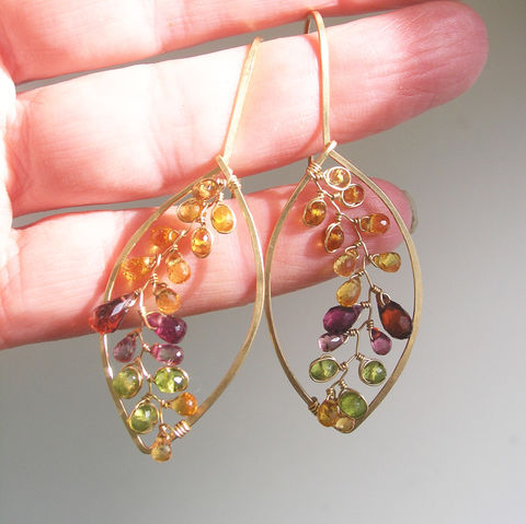 Leaf,Earrings,in,14k,Gold,Fill,with,Gemstones,Vines,,Garnet,,Vesuvianite,,Golden,Sapphires,,Easy,to,Wear,Jewelry,Leaf_Earrings,in_14k_Gold_Fill,with_Gemstones_Vines,Garnet,Vesuvianite,Golden_Sapphires,Easy_to_Wear,Artist_Made,Original_Design,Bellajewels,Gemstone_Vines,Gemstone_Leaves,Autumn_Leaf_Earrings,14k gold filled wire,gemstones,spessartite,sa
