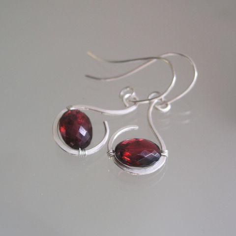 Red,Garnet,Sterling,Silver,Small,Curl,Earrings,,Minimalist,Dangles,Jewelry,Earrings,Red_Garnet_Sterling,Hand_Wrought,Original_Minimalist,Minimalist_Design,Old_Signature,BellaJewels,Bella_Jewels,Garnet_Earrings,Curl_Earrings,Small_Earrings,lightweight,argentium sterling silver wire,garnet