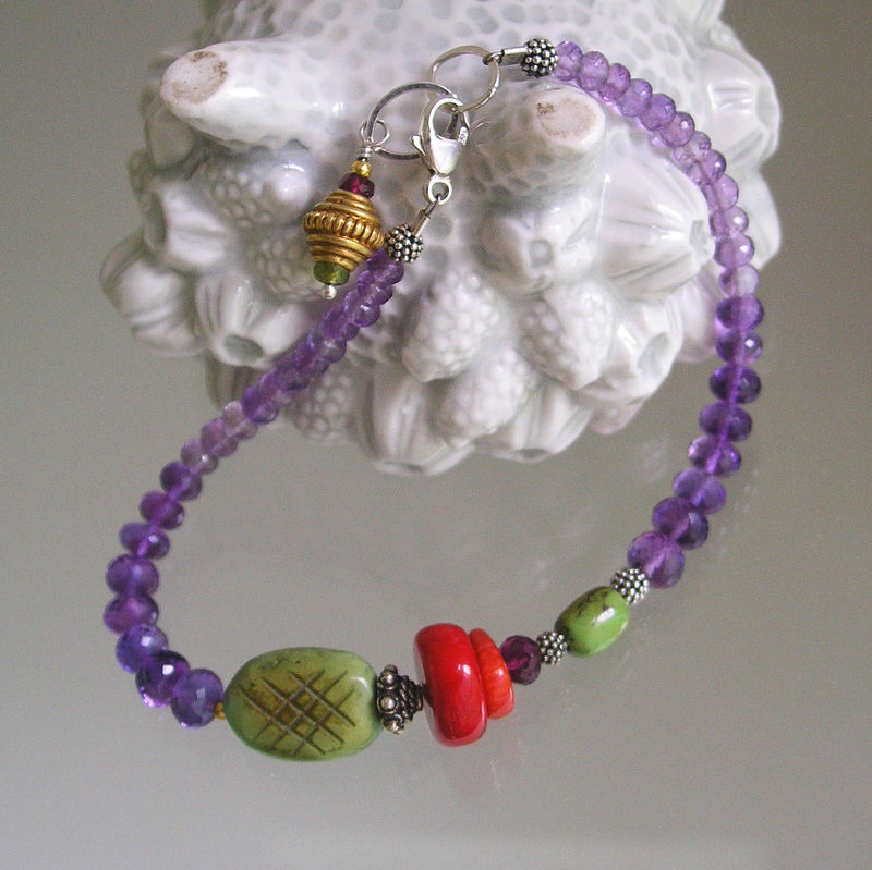 Amethyst and Green Turquoise Beaded Layering Bracelet with Vintage Coral - product images  of