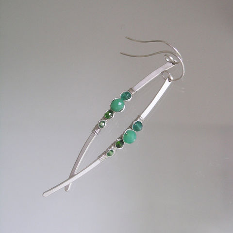 Chrysoprase,Sterling,Silver,Linear,Earrings,,Long,and,Slender,Curved,Dangles,with,Emerald,Jewelry,Earrings,Chrysoprase_Sterling,Linear_Earrings,Long_and_Slender,Signature_Earrings,Emerald_Dangles,Chrysoprase_Dangles,Long_Earrings,Bellajewels,Bella_Jewels,Silver_Linear,Curved_Dangles,Emerald_Linear,Long_Silver_Stems,argentium sterling silver wi